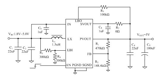 it adopts nmos for the main switch and pmos for the synchronous