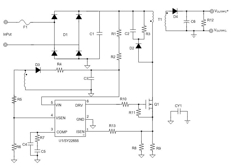 Sy22655abc Single Stage Flyback And Pfc Controller With Cv